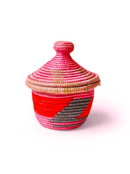 Home Goods - Small Lidded Basket - Pink