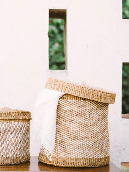 Home Goods - Large Woven Lidded Basket