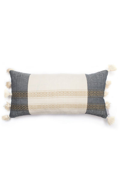Lumbar Black Stripe Tassel Pillow