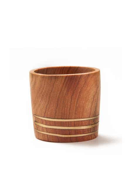 Home Goods - Small Brass Wooden Planter