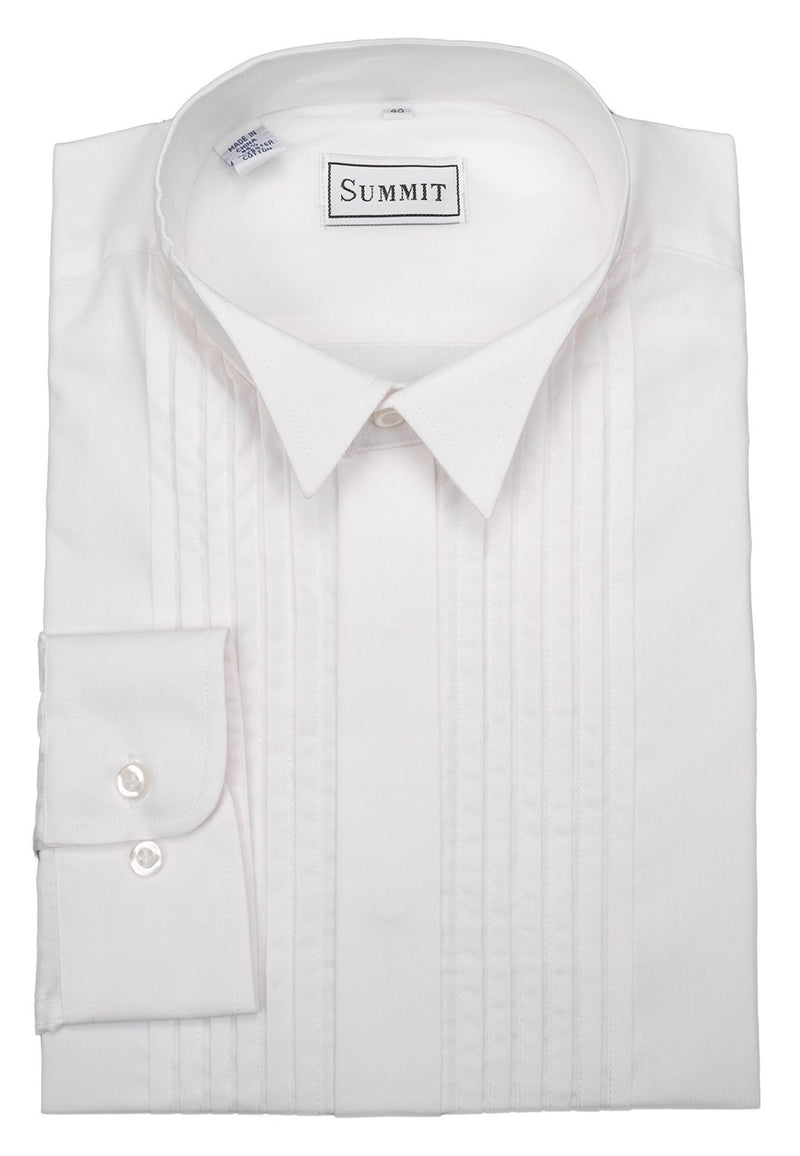 WING PLEAT FORMAL SHIRT - White