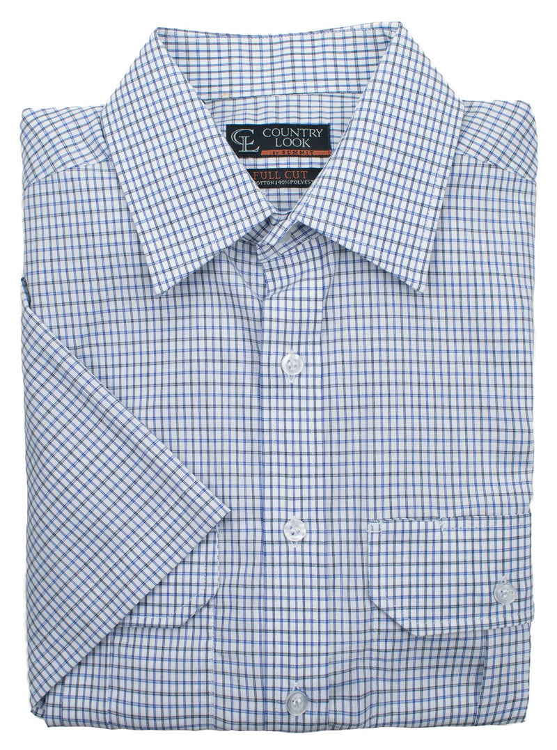 SHORT SLEEVE CHECK SHIRT - Blue