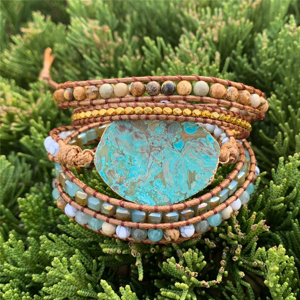 """Gold Rim Blue Magma"" Natural Stones Bracelet Series"