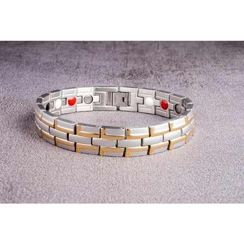 """Golden Silver"" Stainless Steel - Magnetic Bracelet Series"