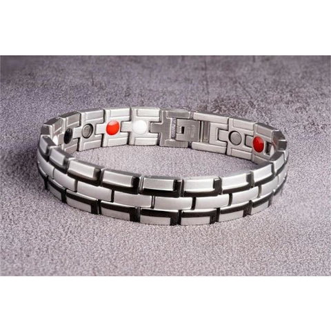 """Black Silver"" Stainless Steel - Magnetic Bracelet Series"