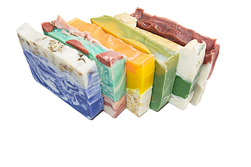 Floral Soap Collection -6(Six) 2Oz Guest Bars, Sample Size-Brazilian Mud, Orange, Bamboo, Lavender, Rose and Avocado Soap