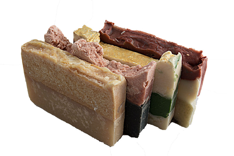 Natural Soap Collection - 4(Four) 2Oz Guest Bars, Sample Size Soap -Pink Salt, Brazilian Mud, Bamboo, Bay Rum Soap