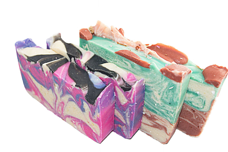 Goat Milk Soap Collection - 4(Four) 2Oz Guest Bars, Sample Size Soap - Lemongrass and Rose Soap Bars