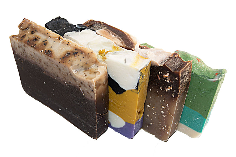Morning Energy Soap Collection - 4(Four) 2Oz Guest Bars, Sample Size Soap -Oatmeal Honey, Green Tea, White Tea, Coffee Soap