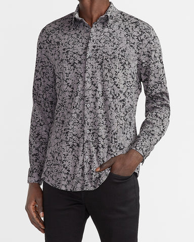Slim Floral Luxe Comfort Knit Shirt in Jet Black