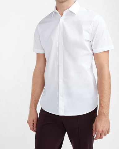 Slim Solid Stretch Cotton 1Mx Dress Shirt in White