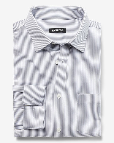 Slim Striped Soft Shirt in Pale Gray