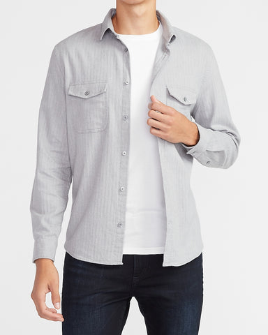 Slim Solid Stretch Flannel Shirt in Light Heather Gray
