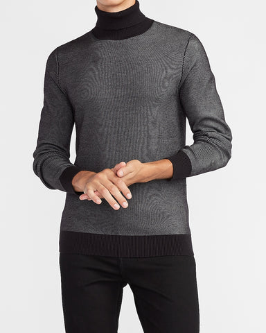 Plaited Rayon Stretch Turtleneck Sweater in Pitch Black