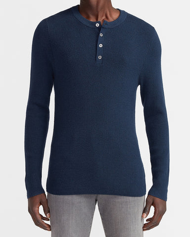 Solid Stretch Henley Sweater in Navy
