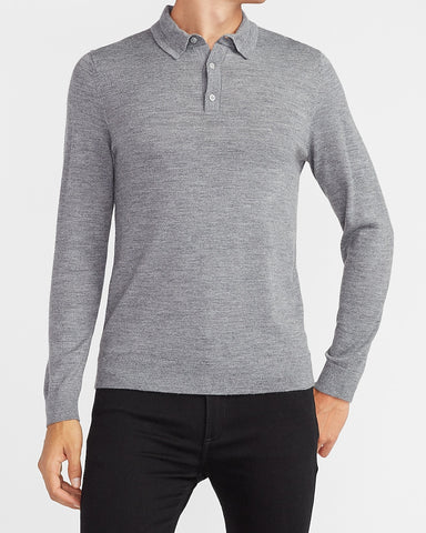 Long Sleeve Wool Polo in Heather Gray
