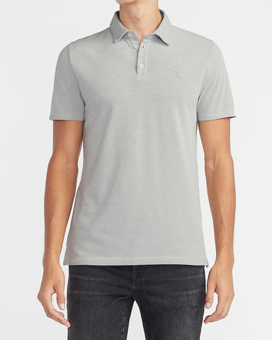 Solid Moisture-Wicking Pique Polo in Light Heather Gray
