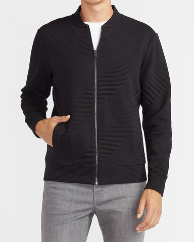 Geo Quilted Bomber Sweatshirt in Pitch Black