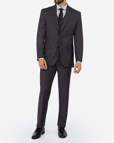 Classic Charcoal Wool Blend Wrinkle-Resistant Performance Suit Jacket in Charcoal
