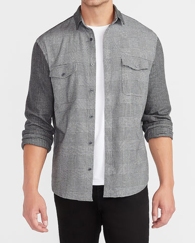 Flannel Stretch Pattern Mixing Shirt in Gray