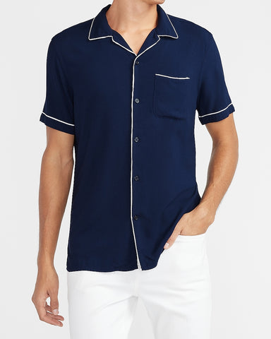 Slim Piped Rayon Shirt in Navy Blue