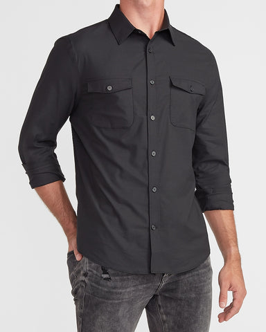 Slim Solid Wrinkle-Resistant Modern Tech Shirt in Jet Black