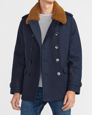 Sherpa Collar Water-Resistant Trench Coat in Navy