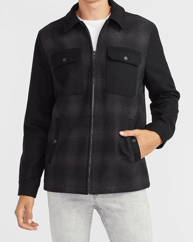 Plaid Wool-Blend Shirt Jacket in Charcoal Gray