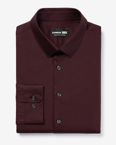 Slim Solid Stretch Cotton 1Mx Dress Shirt in Wine