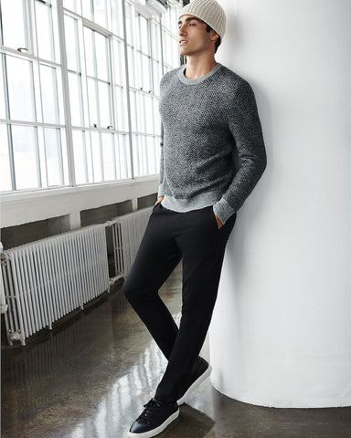 Herringbone Crew Neck Sweater in Heather Gray