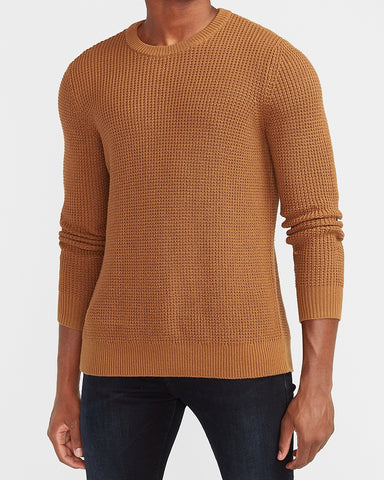 Waffle Knit Crew Neck Sweater in Camel