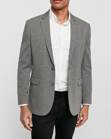 Slim Luxe Comfort Knit Blazer in Heather Gray