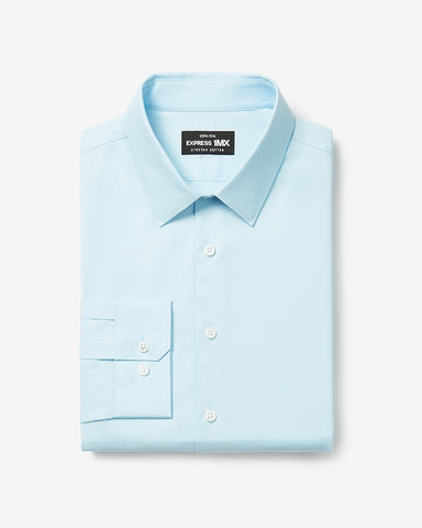 Extra Slim Solid Stretch Cotton 1Mx Dress Shirt in Light Blue