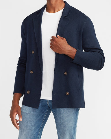 Solid Double Breasted Cardigan in Navy