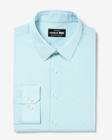 Extra Slim Pinstripe Stretch Cotton 1Mx Dress Shirt in Aqua