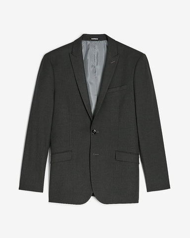 Extra Slim Solid Charcoal Flannel Suit Jacket in Charcoal