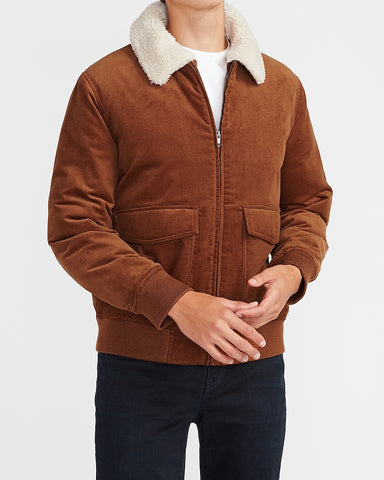 Sherpa Collar Corduroy Bomber Jacket in Camel