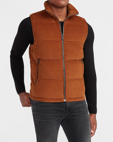 Solid Corduroy Puffer Vest in Caramel