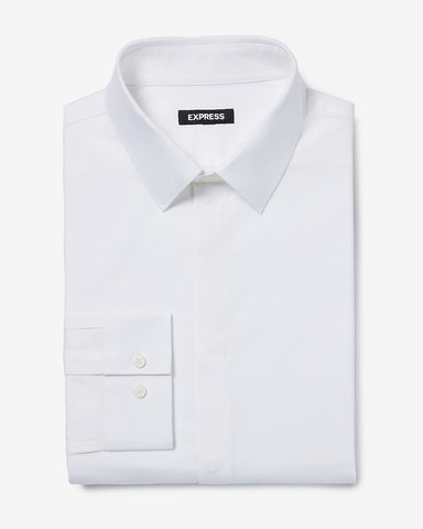 Slim Covered Placket Cotton Stretch 1Mx Dress Shirt in White