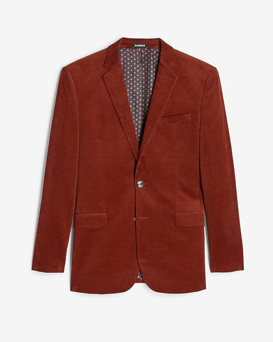 Slim Solid Red Corduroy Suit Jacket in Brick Red
