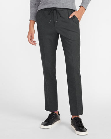 Extra Slim Solid Charcoal Drawstring Flannel Suit Pant in Charcoal