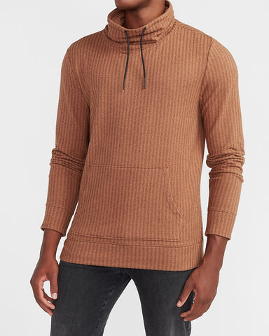 Cozy Herringbone Funnel Neck Sweatshirt in Dark Brown