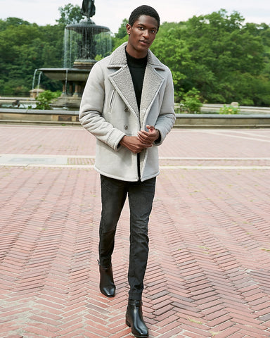 Gray Water-Resistant Sherpa Lined Trench Coat in Light Heather Gray