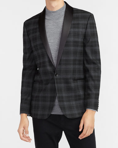 Slim Charcoal Plaid Tuxedo Jacket in Dark Grey
