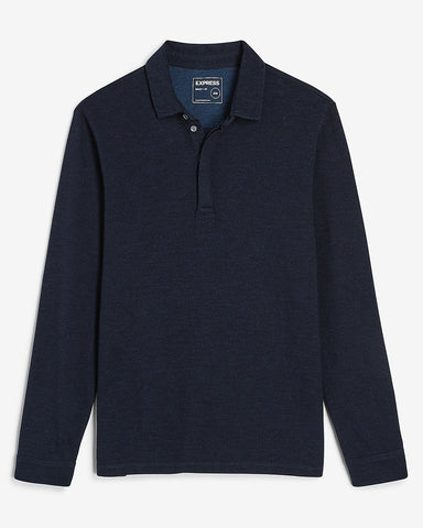 Herringbone Long Sleeve Polo in Navy