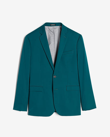Extra Slim Solid Teal Cotton Sateen Suit Jacket in Venetian Teal
