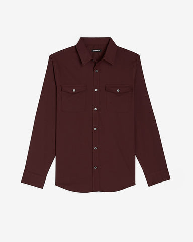 Slim Solid Wrinkle-Resistant Modern Tech Shirt in Merlot
