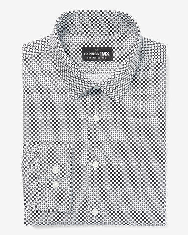 Slim Printed Stretch Cotton 1Mx Dress Shirt in Navy Blue