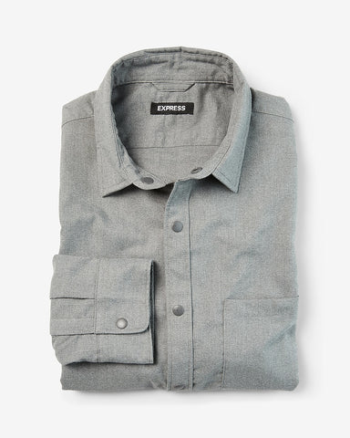 Slim Textured Gray Shirt Jacket in Heather Gray