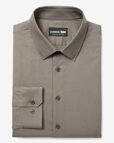 Classic Solid Stretch Cotton 1Mx Dress Shirt in Pebble